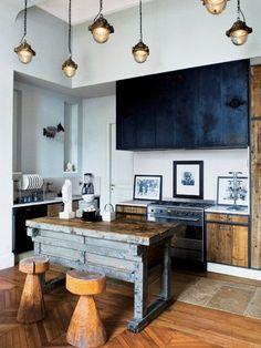 meuble bois et noir cuisine rustique