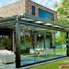 Aluxe Ultraline Veranda Glas cm Anthracite Grey Ral 7016 C - Sierbestrating Jonk B. Backyard Patio Designs, Pergola Designs, Backyard Landscaping, Patio Ideas, Gazebo, Diy Pergola, Terrace Design, Garden Design, Pergola Retractable