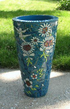 DANCING FLOWERS Mosaic Flower Pot Mosaic por MosaicRenaissance