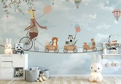 giraffe kids wallpaper removable boys bedroom wall mural jungle colorful balloon nursery wall decor decal kids playroom decor - Best of Wallpapers for Andriod and ios Kids Wall Murals, Nursery Wall Murals, Nursery Room, Boys Bedroom Paint, Bedroom Wall, Baby Bedroom, Bedroom Decor, Kids Wallpaper, Room Wallpaper