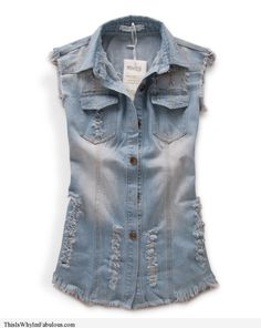 This Is Why I'm Fabulous   Oversized Faded and Washed Denim Vest with Distressed Detail - http://www.thisiswhyimfabulous.com/denim/oversized-faded-and-washed-denim-vest-with-distressed-detail