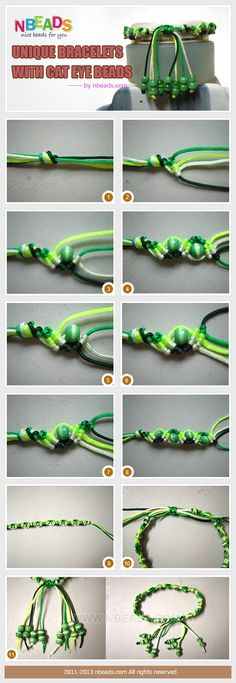 Macrame bracelet with cat eye beads