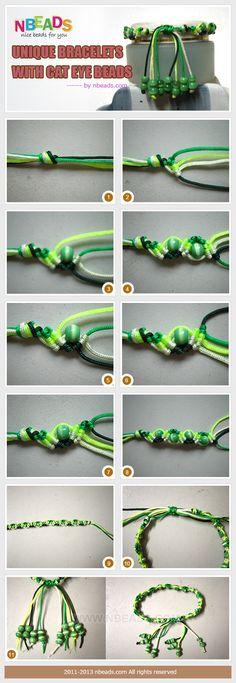 Macrame bracelet with cat eye beads