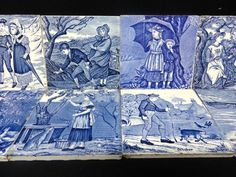 COMPLETE SET  EARLY ENGLISH BLUE TRANSFERWARE TILES MONTHS ~ JANUARY THRU DECEMBER Wedgwood China Works Staffordshire England ~ 1879 These Victorian 6
