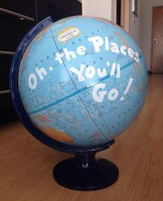 Painted World Globe Oh the places you'll go by ShopElizabethAnn, $100.00