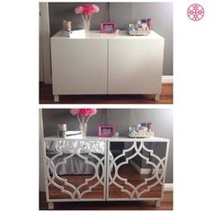 "Must do this!! IKEA Besta before then after some mirror and an O'verlays Khloe Kit for the IKEA Besta as done by ""SheDevil"" Judy Landin. Love it!"