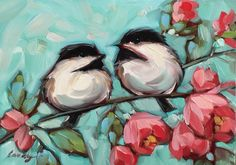 """Chickadee and Floral painting, Original impressionistic 5x7"""" oil painting of two chickadees on a floral branch. *Pre-Order by LaveryART on Etsy"""