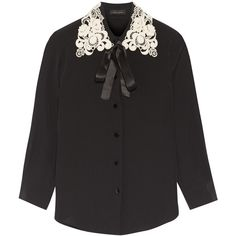 Marc Jacobs Guipure lace-trimmed silk crepe de chine shirt (€580) via Polyvore featuring tops, shirts, marc jacobs, pure silk shirt, white shirt, white top, white silk shirt und silk top