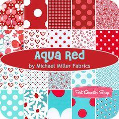 Aqua Red fat quarter bundle by Michael Miller fabrics (20 fat quarters) $59.99
