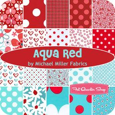 Aqua Red fat quarter bundle by Michael Miller fabrics (20 fat quarters) $59.99