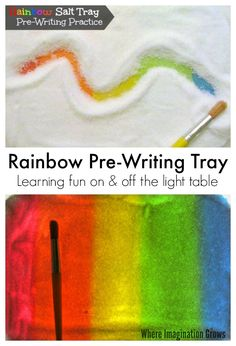 Rainbow Salt Tray for Prewriting Practice! A fun way to learn letters on and off the light table!