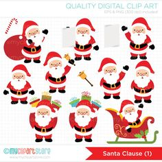 SANTA CLAUSE (#1) Vector Clip Art - Santa in different poses - you can find Santa Clause #2 in my store with even more variations of this cute little Santa! SEE LINK FOR MATCHING ITEMS!--------------------------------------------------------------------------------------- ► Similar Items Available Here: http://etsy.me/1gvzQtR --------------------------------------------------------------------------------------- ➽ WHAT YOU GET: - PNG (300 dpi) high resolution with transparent...