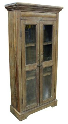 Wood Curio Cabinet With Gl Doors