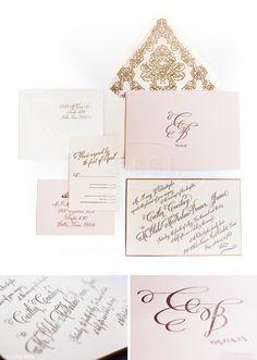 Luxury Wedding Invitations by Ceci New York. #gold #pink #blush #ivory #custom #calligraphy #letterpress #monogram #envelope