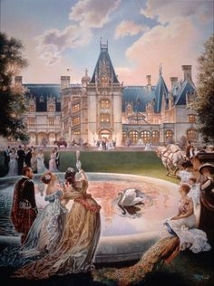 Biltmore Celebration (Asheville, North Carolina) by Werner Willis Art is R. Ashville Nc, Cornelius Vanderbilt, American Mansions, Safari, Biltmore Estate, Historic Homes, North Carolina, Places To Go, Paintings