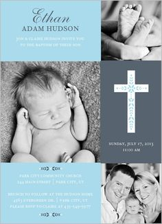 Invite family and friends to share in a memorable and blessed occasion. Share your baby's adorable photos with a baptism invitation.