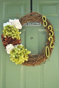 Address wreath. I am doing this.  A great idea, perfect year round!!!
