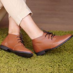 Bota Oxford Feminina Marrom 240-02 Real Leather, Brown, Universe