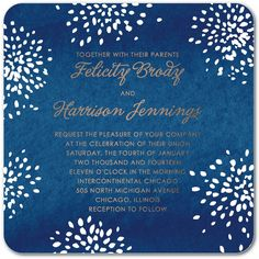 Starry Bloom Nature Fireworks - Signature Wedding Invitations in Blue, Green, Red and More