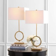 "Shop Safavieh Lighting Kaden 32-inch LED Table Lamp (Set of 2) - 15"" W x 10"" L x 31.5"" H - Overstock - 31634122 Ceiling Fan Price, Art Deco Decor, Lamp Shade Store, Table Lamp Sets, Light Bulb Types, Lighting, Home Decor, Negative Space, Geometry"