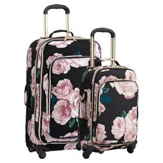 Fabulously floral, this suitcase bundle set's bold pattern adds fashionable style to its smart design. They're the perfect travel companion with glamorously antiqued gold telescoping handle and coordinating zippers, spacious hold-every… Teen Luggage, Pink Luggage, Cute Luggage, Carry On Suitcase, Carry On Luggage, Travel Luggage, Travel Bags, Disney Luggage, Luggage Cover