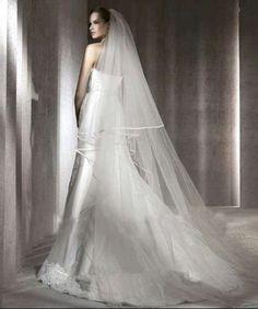 layer 2 chapel length white ivory wedding veils satin edge bridal with ivory wedding dress with white veil