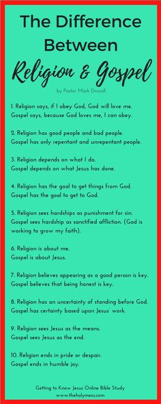 Is there a difference between religion and the Gospel? Learn the answer plus other insights from the Bible study Getting to Know Jesus. Christian Faith, Christian Quotes, Bible Scriptures, Bible Quotes, Forgiveness Scriptures, Bibel Journal, Bible Knowledge, Bible Truth, God Loves Me