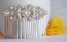 bridal hair accessories bridal hair comb wedding hair by BrideShop, $52.00