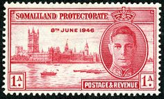 """1912 Scott 58 light blue & black """"George V"""" Quick History The Somaliland Protectorate (British Somaliland) bordered on the Gulf of A. Old Stamps, Rare Stamps, British Guiana, Crown Colony, Stamp Catalogue, St Helena, King George, Stamp Collecting, Postage Stamps"""