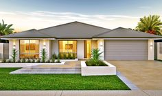 The Lisbon could work, activity to bed move office and bed 1 to theatre placement, Model House Plan, My House Plans, Family House Plans, Bedroom House Plans, Bungalow Haus Design, Modern Bungalow House, Modern House Design, Modern Bungalow Exterior, Exterior House Colors