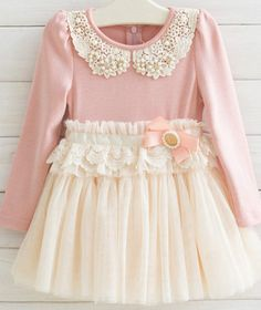 Toddler Girls Dress // Pink Dainty Pearl and Lace Collar Dress, Tutu Long Sleeve Bow Dress, Childrens Dress, Christmas Dress, Fancy Dress on Etsy, $39.99