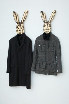Unique hanger - hook - mask - He - rabbit, use it for clothes or as a decor item thick quality birch plywood. €30,00, via Etsy. creepy cool