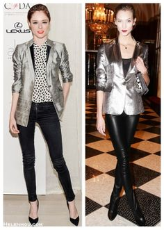 Metallic Blazer & Bright Lip - could do with long silver Jacket, black pants and silk b&w blouse.