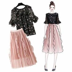 Load image into Gallery viewer, Floral Print Tops + Retro Mesh Fabric Skirt Set Kpop Fashion Outfits, Trendy Outfits, Cute Outfits, Fashion Drawing Dresses, Fashion Dresses, Mode Kpop, Korean Girl Fashion, Dress Sketches, Fashion Design Sketches