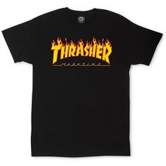 Thrasher Magazine Flame Logo T-Shirt ❤ liked on Polyvore featuring tops, t-shirts, shirts, tees, logo top, cotton logo shirts, cotton logo t shirts, t shirts and tee-shirt