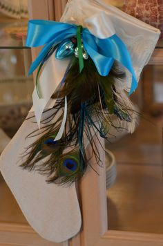 Hand made Peacock Feather Stocking. Materials: linen fabric, satin fabric, feathers, lace, ribbons, ornaments photo 1/4