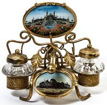 Antique French Expo 1900 Eglomise (back-painted glass) Souvenir Double Inkwell, Penstand from Antiques & Uncommon Treasures on Ruby Lane
