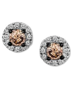 Le Vian S Pee Stud Earrings Combine Round Cut Chocolate Diamonds At The Center Ct Amongst A Halo Of White Diamond Accents Set In Gold