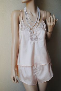 Vintage Light Pink Dotted 2 Piece Pajama Set  by LingerieAddicts, $25.00