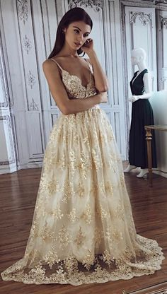 A line Spaghetti Straps Deep V Neck Lace Appliques Wedding Dresses, Bridal Dresses - Lace Wedding Dresses - Elegant How To Dress For A Wedding, Lace Beach Wedding Dress, Applique Wedding Dress, Lace Dress, Lace Wedding, Lace Applique, Dresses Elegant, Formal Dresses For Weddings, Long Wedding Dresses