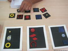 Materiali poveri per giochi ricchi: Montessori - appaiamento di colori e forme.