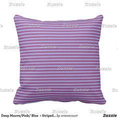Deep Mauve/Pink/ Blue  > Striped Square Pillow