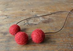 Felted necklace red felt necklace felt beads от FeltedDecorations