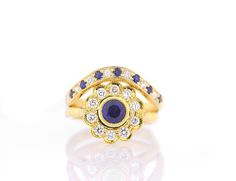 Blue Sapphire Engagement Ring-Blue Sapphire and Diamond Tiny Rings, Bridal Collection, Blue Sapphire, Wedding Rings, Engagement Rings, Unique Jewelry, Diamonds, Magic, Create