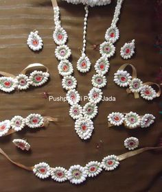 Flower Jewellery made with real jasmine buds and kundan applique Flower Ornaments, Flower Garlands, Flower Decorations, Wedding Decorations, Indian Wedding Jewelry, Bridal Jewelry, Flower Jewelry, Indian Bridal, Bridal Flowers