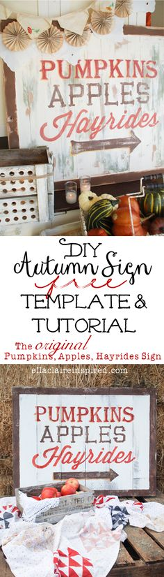 DIY Autumn Sign Free Template and Tutorial!  This is just good info for doing any wood sign.