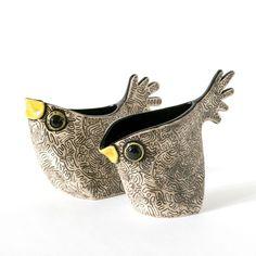 Animal Jugs and Vases - Alice Shepherd Ceramics Clay Birds, Ceramic Birds, Ceramic Animals, Clay Animals, Ceramic Art, Porcelain Ceramic, Ceramic Decor, Ceramic Mugs, Hand Built Pottery