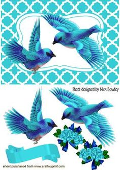 TURQ BIRDS IN FLIGHT, With pretty bows and roses, makes a pretty card, Lots of other colours to see