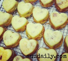 Mini heart quiches for Valentines Day.