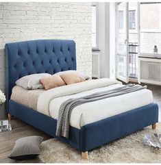 Midnight Blue Birlea Brighton Double Bed